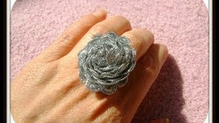 getlinkyoutube.com-DIY Anillo flor de cinta - Flower Ring
