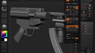 getlinkyoutube.com-Sculpting MP5-K in ZBrush 4