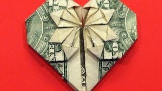 getlinkyoutube.com-Origami Dollar Heart & Star Tutorial - How to make a Dollar heart with star