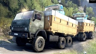 getlinkyoutube.com-SPINTIRES 2014 - The Hill Map - KAMAZ 55102 + Full Trailer Loaded With 2 ZIL Trucks Going Up Hill