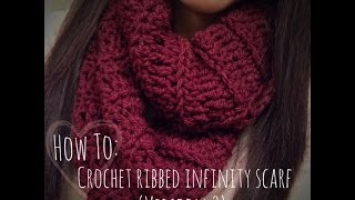getlinkyoutube.com-♡ How To: Crochet Ribbed Infinity Scarf (Version 2)