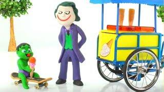 JOKER & FROZEN ELSA' S ICE CREAM PARLOR  ❤ Spiderman, Hulk & Frozen Elsa Play Doh Cartoons For Kids