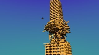 How to cut a keva planks building - Blender bullet physics - keva collapse and destruction