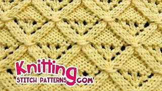 getlinkyoutube.com-Diamond Lattice | Lace Knitting #25