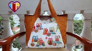 getlinkyoutube.com-Bolsa sacola das Corujas I - Maria Adna Atelie - Cursos e aulas de bolsas e sacolas de tecido