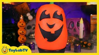 getlinkyoutube.com-Giant Jack-O'-Lantern Play Doh Surprise Egg with Halloween Toys & Decorations from ToyLabTV