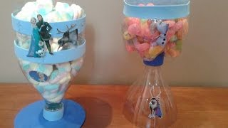 getlinkyoutube.com-D.I.Y Pote doces , garrafa pet :frozen ,barbie de 15 anos, decoração festa infantil reciclagem