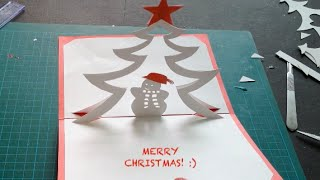 getlinkyoutube.com-Snowman and Christmas Tree Pop Up Card, Kirigami Tutorial