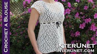 getlinkyoutube.com-Crochet a raglan sleeve blouse - women's dress shirt crochet pattern