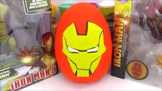 getlinkyoutube.com-Iron Man Giant Playdoh Surprise Egg Avengers Age of Ultron with Cool Surprise Toys