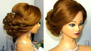 getlinkyoutube.com-Bridal updo. Romantic hairstyle for  medium hair.