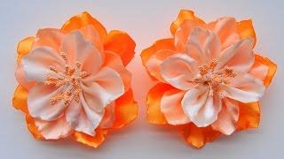 getlinkyoutube.com-Цветы из лент своими руками / Ribbon Flower Tutorial / ✿ NataliDoma