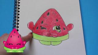 "getlinkyoutube.com-How to Draw Shopkins Season 1 ""Melonie Pips"" Step By Step Easy | Toy Caboodle"