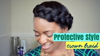 getlinkyoutube.com-108 How To Protective Style - Simple Crown Braid