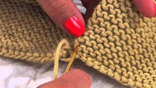 getlinkyoutube.com-Mattress Stitch in Garter