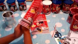 getlinkyoutube.com-Preparativos aniversário tema Minnie. Lembrancinhas com latas de leite