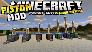 MORE PISTONS MOD in MCPE!!! - 9 Different types of Pistons - Minecraft PE (Pocket Edition)