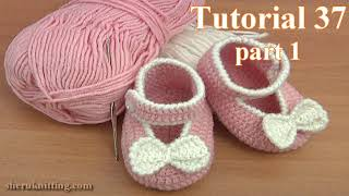 getlinkyoutube.com-Crochet Button Buckle Bow Shoes Tutorial 37 Part 1 of 2 Zapatitos Para Bebe