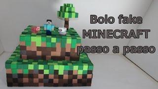 getlinkyoutube.com-Como fazer bolo fake Minecraft passo a passo