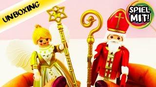 getlinkyoutube.com-Playmobil 5592 St. NIKOLAUS und WEIHNACHTSENGEL mit goldenem Kleid und Flügeln | Unboxing