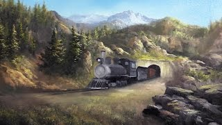 Train in the Mountains Part 1 | Oil Painting