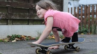 getlinkyoutube.com-Inspirational 7 Year Old Girl Skateboards With No Legs