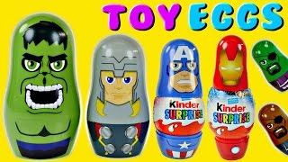 getlinkyoutube.com-Kinder The Avengers Nesting Surprise Eggs Superhero Marvel Stacking Cups Hulk Ironman Thor Nick Fury