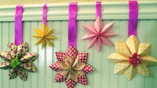 getlinkyoutube.com-How to fold a flower decoration, floral party decor, origami