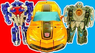getlinkyoutube.com-Transformers 1-Step Amazing Robot Cars Trucks Mega Bumblebee Toy Review