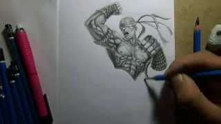 getlinkyoutube.com-Pencil Drawing - Muay Thai Lee Sin