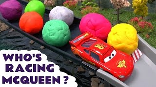 getlinkyoutube.com-Disney Pixar Cars Racers Micro Drifters Play Doh Surprise Eggs  Lego Minifigures Crowd