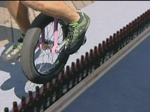 Booze Cruise: Record for riding unicycle along beer bottles