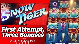 getlinkyoutube.com-Snow Tiger Slot - First Attempt, Live Play with 3 Free Spins Bonuses