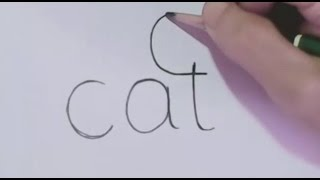 getlinkyoutube.com-How to turn Words Cat Into a Cartoon Cat. (Wordtoons)