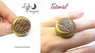 getlinkyoutube.com-Polymer Clay Tutorial: Anello in fimo con texture, pigmenti e base in bronzo | Ring with mica powder