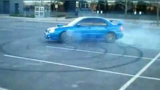 AWD Burnout in my 2004 Subaru STI - Donuts - Cops shut it down