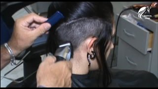 getlinkyoutube.com-Beautiful model shaving head undercut (Full Version)