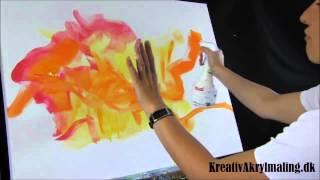getlinkyoutube.com-Det første trin i et stort inutitivt maleri - fra kurset Intuitiv Leg med Akrylmaling på Maleskolen