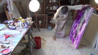 getlinkyoutube.com-Abstract Acrylic Painting Demo - Liquid Number Two - Marlis painting in her studio