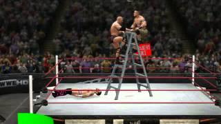 getlinkyoutube.com-WWE '13 AA OFF LADDER THROUGH 2 TABLES