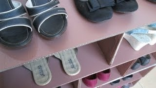 getlinkyoutube.com-DIY : #30 Shoes Rack From RECYCLED Cardboard ♥