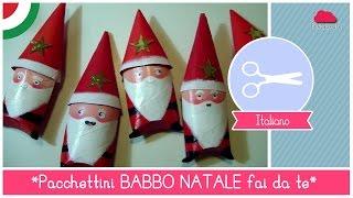 getlinkyoutube.com-Pacchettini di Natale fai da te a forma di BABBO NATALE - Idea per Bambini (RICICLO CREATIVO)