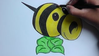 getlinkyoutube.com-Dibujando y pintando a Lanza abejas (Plantas vs Zombies) - Drawing and painting to launch bees