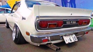 【ブルーバードU 排気音 2000GT X サメブル  610型】 ニューイヤーミーティング 直管 お台場 車高短 シャコタン Lowered exhaust low car