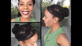 getlinkyoutube.com-Easy and Quick Jumbo Marley Twist Bun Tutorial | 4C Natural Hair
