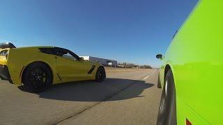 getlinkyoutube.com-2015 C7 Z06 vs 2015 Challenger Hellcat vs 2014 GT500