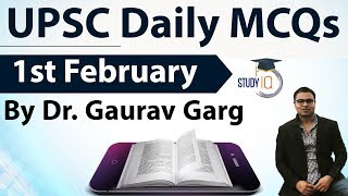 UPSC Daily MCQs on Current Affairs - 1st February 2018 -  for UPSC CSE/ IAS Preparation Prelims