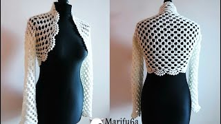 getlinkyoutube.com-How to crochet bridal bolero Chaleco jacket for beginners para principiantes  free tutorial