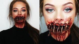 getlinkyoutube.com-SEWED SHUT MOUTH - SFX Makeup