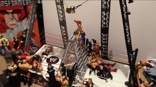 getlinkyoutube.com-GTS WRESTLING: Double Ring Championship Ladder Match!  WWE Mattel elites Figure matches animation